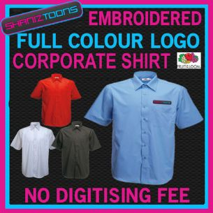X5 WORKWEAR BUSINESS SHORT SLEEVED SHIRT EMBROIDERED FULL COLOUR  DIGITISED LOGO